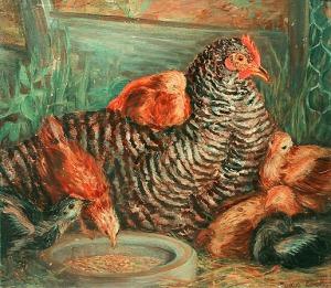 induk ayam dan anak-anaknya